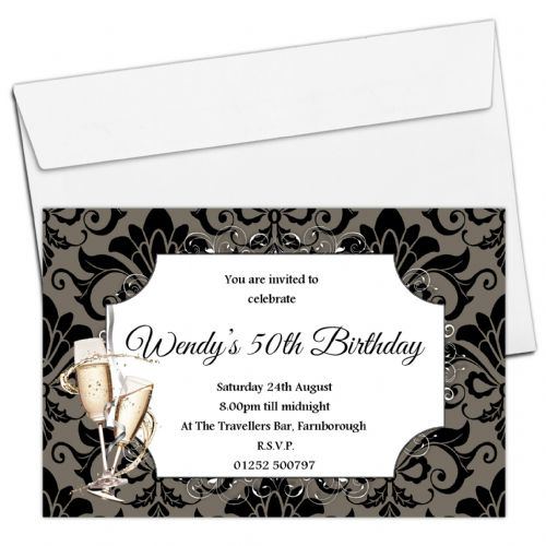 10 Personalised Damask Birthday Party Invitations N157